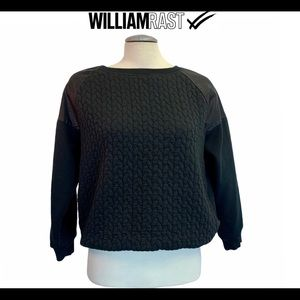 William Rast black quilted faux leather sweatshirt